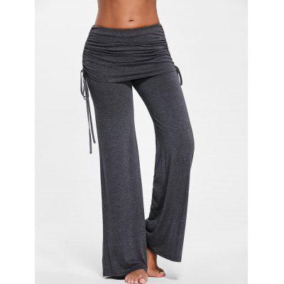 Ruched Wide Leg Skirted Pants
