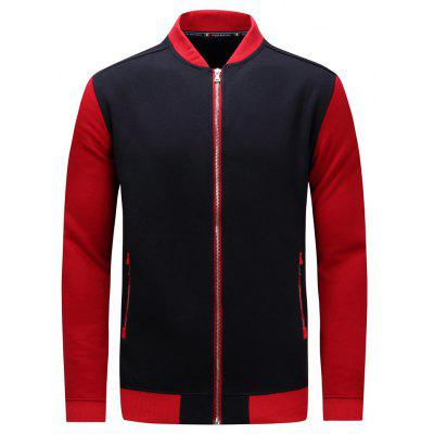 Buy BLUE AND RED L Zip Up Color Block Fleece Baseball Jacket for $28.99 in GearBest store