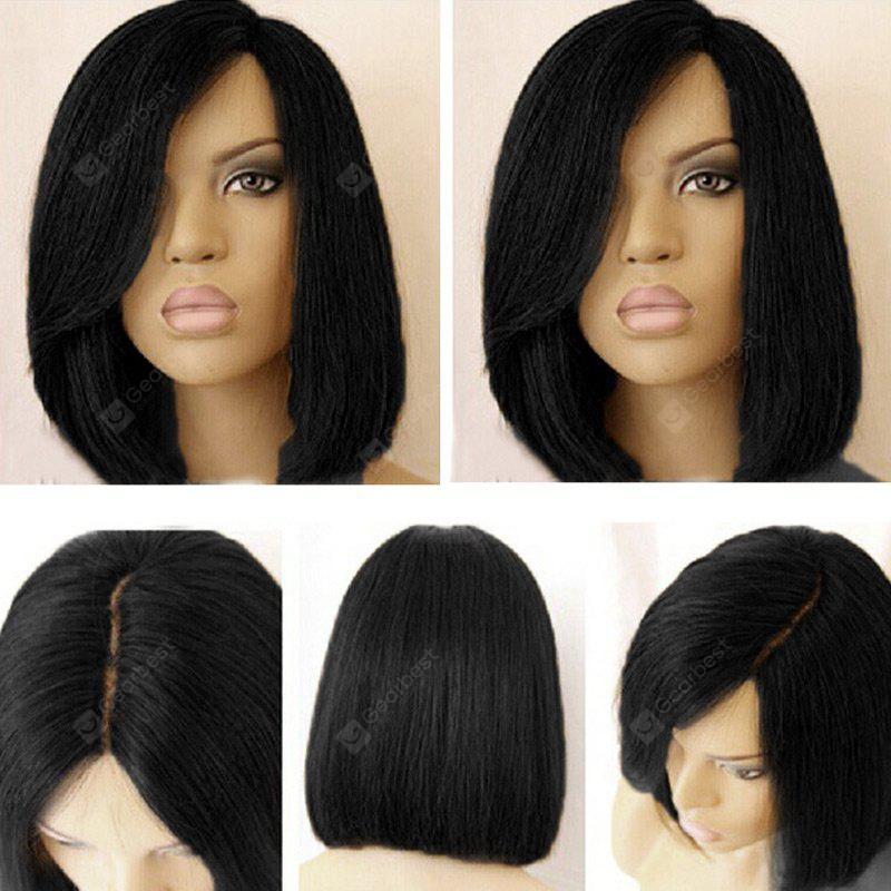 BLACK Short Side Part Colormix Dark Root Straight Bob Synthetic Wig
