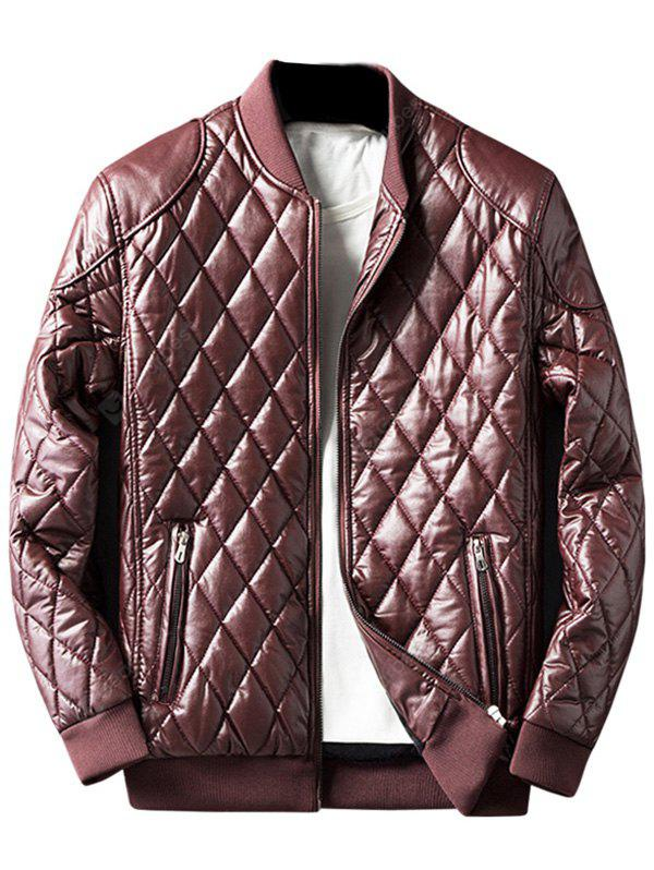 DARK RED Zip Up Diamond Faux Leather Jacket