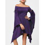 Flare Sleeve Off Shoulder Asymmetric Dress - CONCORD