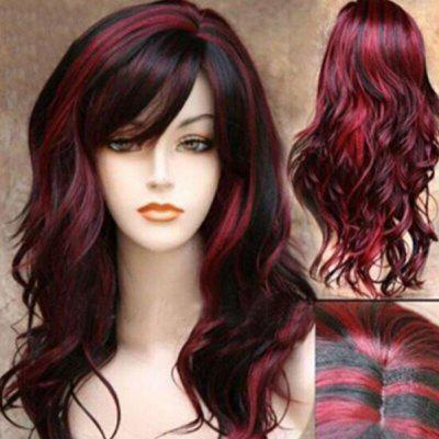 Long Side Bang Colormix Highlight Layered Wavy Synthetic Wig
