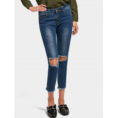 Buy DENIM BLUE L Distressed Ninth Skinny Pencil Jeans for $30.67 in GearBest store