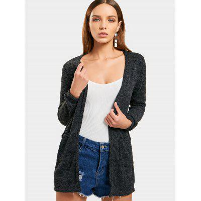 Open Front Fuzzy Knit Cardigan
