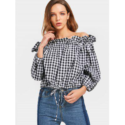 Off Shoulder Checked Ruffles Blouse