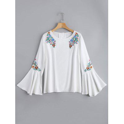 Floral Embroidered Flare Sleeve Blouse