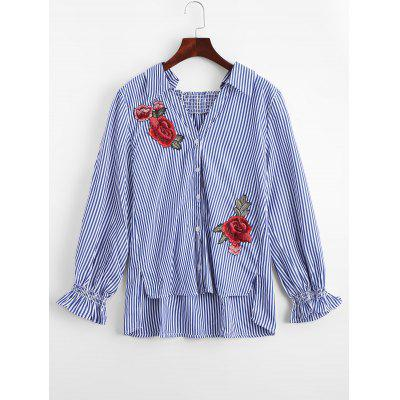 High Low Striped Floral Embroidered Shirt