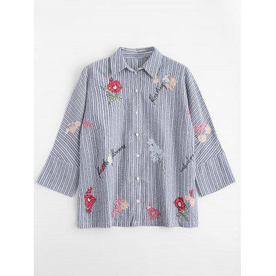Striped Floral Embroidered Button Down Shirt