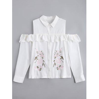 Cold Shoulder Ruffled Embroidered Shirt