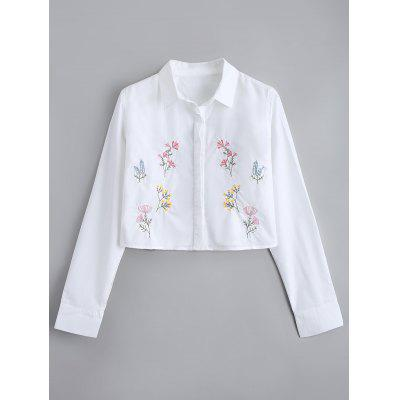 Buy WHITE L Button Down Floral Embroidered Cropped Shirt for $24.20 in GearBest store