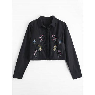 Floral Embroidered Cropped Shirt