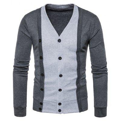 Buy DEEP GRAY Faux Twinset Cotton Blends Button Up Cardigan for $28.86 in GearBest store