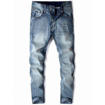 Buy LIGHT BLUE Mid Rise Zip Fly Cuffed Faded Jeans for $31.03 in GearBest store