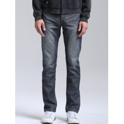 Slim Zipper Fly Straight Jeans