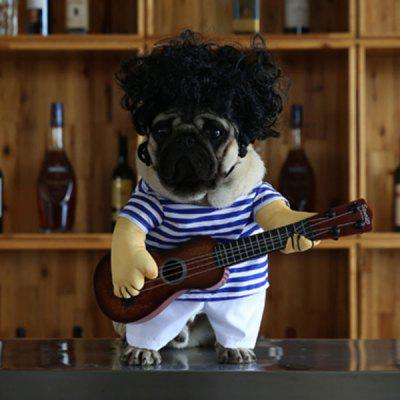 Stripe Pet Jumpsuit with Guitar Wig Costume For Dog