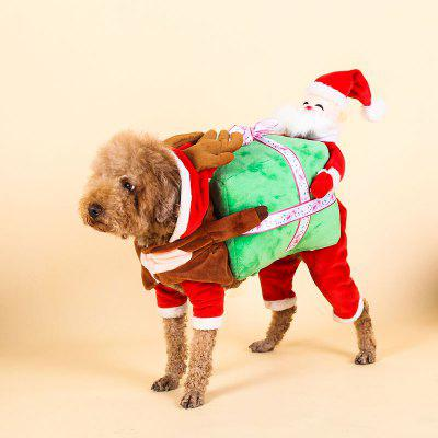 Christmas Pet Clothes Santa Claus Dog Hooded Jumpsuit