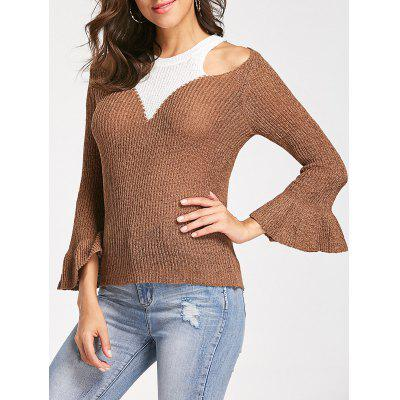 Buy COFFEE Cold Shoulder High Neck Sweater for $18.68 in GearBest store
