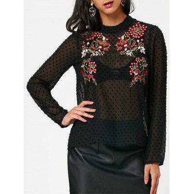 Buy BLACK S Long Sleeve Embroidered Semi Sheer Chiffon Blouse for $20.50 in GearBest store