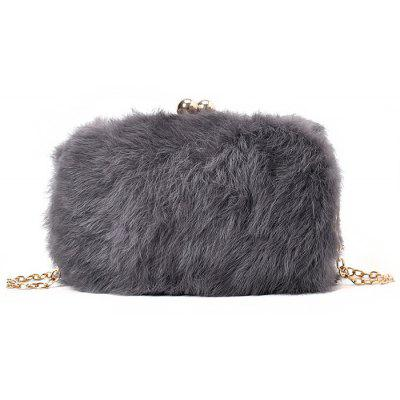 Buy GRAY Faux Fur Chain Crossbody Bag for $28.24 in GearBest store