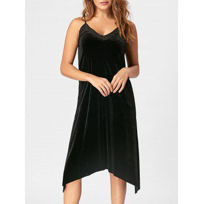 Open Back Velvet Slip Dress 223329201