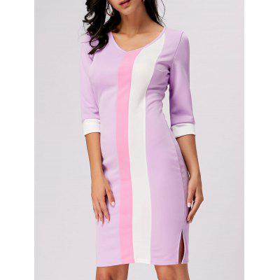 Buy PURPLE 2XL Color Block V Neck Work Sheath Dress for $19.47 in GearBest store