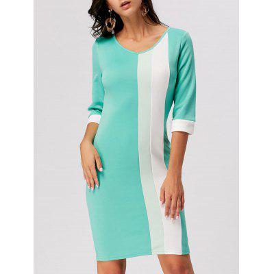 Buy GREEN L Color Block V Neck Work Sheath Dress for $19.47 in GearBest store