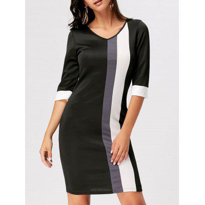 Buy BLACK 2XL Color Block V Neck Work Sheath Dress for $19.47 in GearBest store