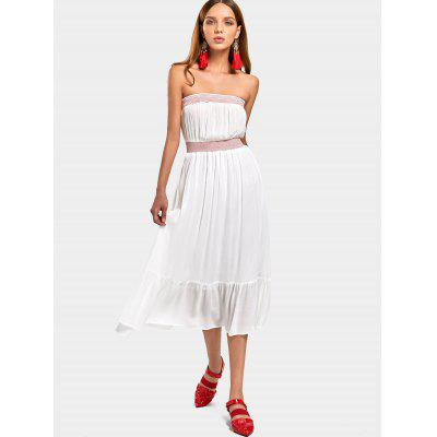 Buy WHITE M Embroidered Flounces Midi Tube Dress for $30.22 in GearBest store