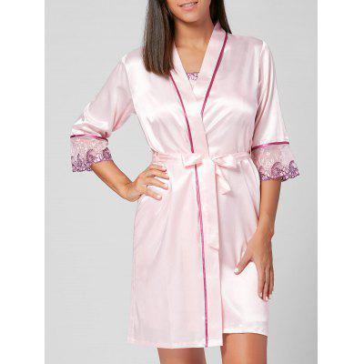 Buy LIGHT PINK M Satin Pajamas Robe with Slip Embroidery Dress for $27.18 in GearBest store