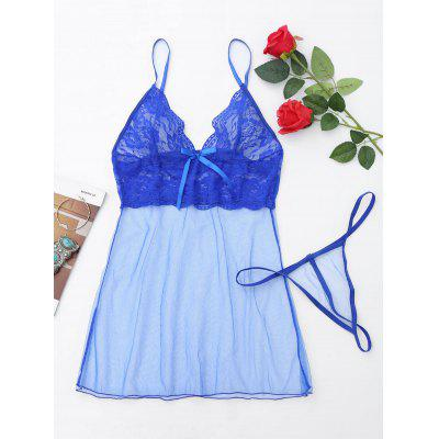 Buy BLUE 2XL Lace Mesh Sheer Slip Babydoll for $13.87 in GearBest store