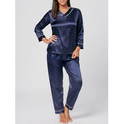 Buy PURPLISH BLUE L V Neck Satin PJ Set with Sleeves for $25.68 in GearBest store