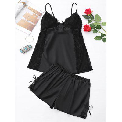 Buy BLACK 2XL Lace Panel Cami Backless PJ Set for $18.02 in GearBest store
