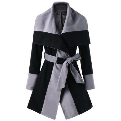Color Block Lapel Wrap Coat