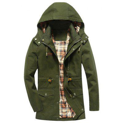 Buy ARMY GREEN 4XL Hooded Drawstring Field Jacket for $53.69 in GearBest store