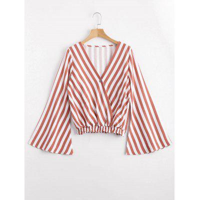 Flare Sleeve One Button Striped Blouse