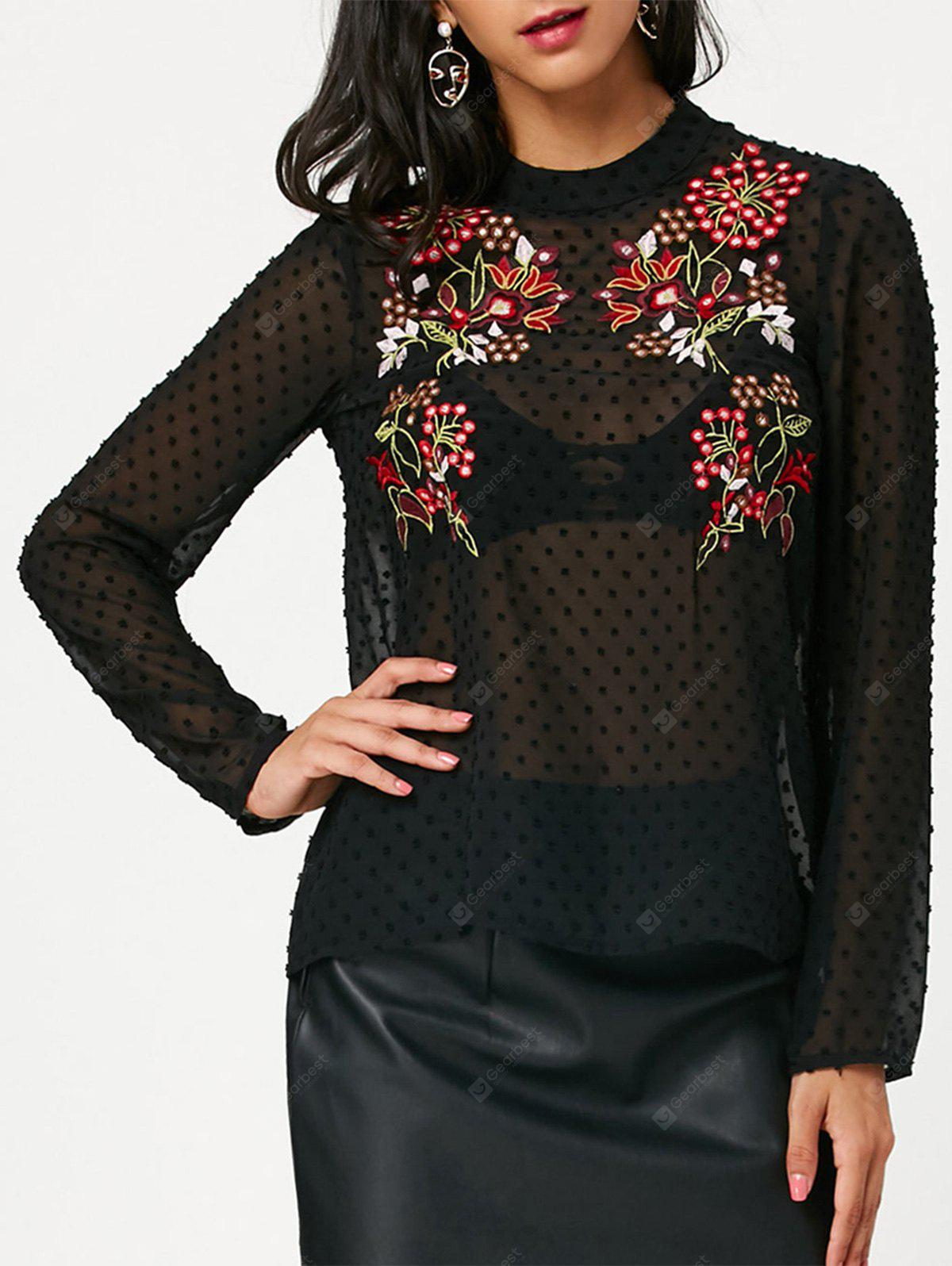 BLACK S Long Sleeve Embroidered Semi Sheer Chiffon Blouse