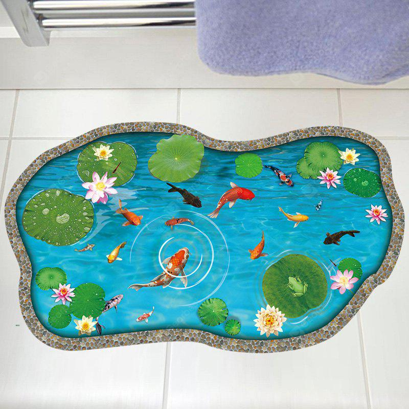 3d Large Size Round Dots Tree Wall Stickers Home Decor: Buy Lotus Pond Fish 3D Floor Sticker Living Room LAKE BLUE