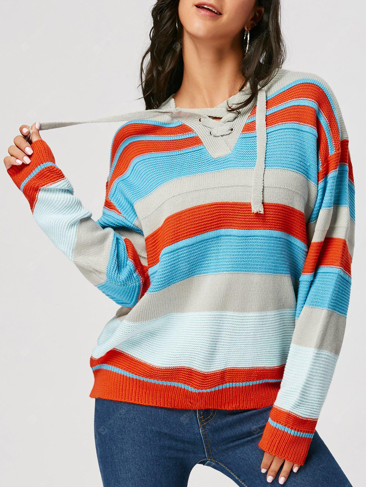 Drop Shoulder Lace Up Front Striped Sweater