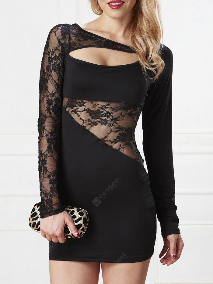 Lace Insert Cut Out Bodycon Dress