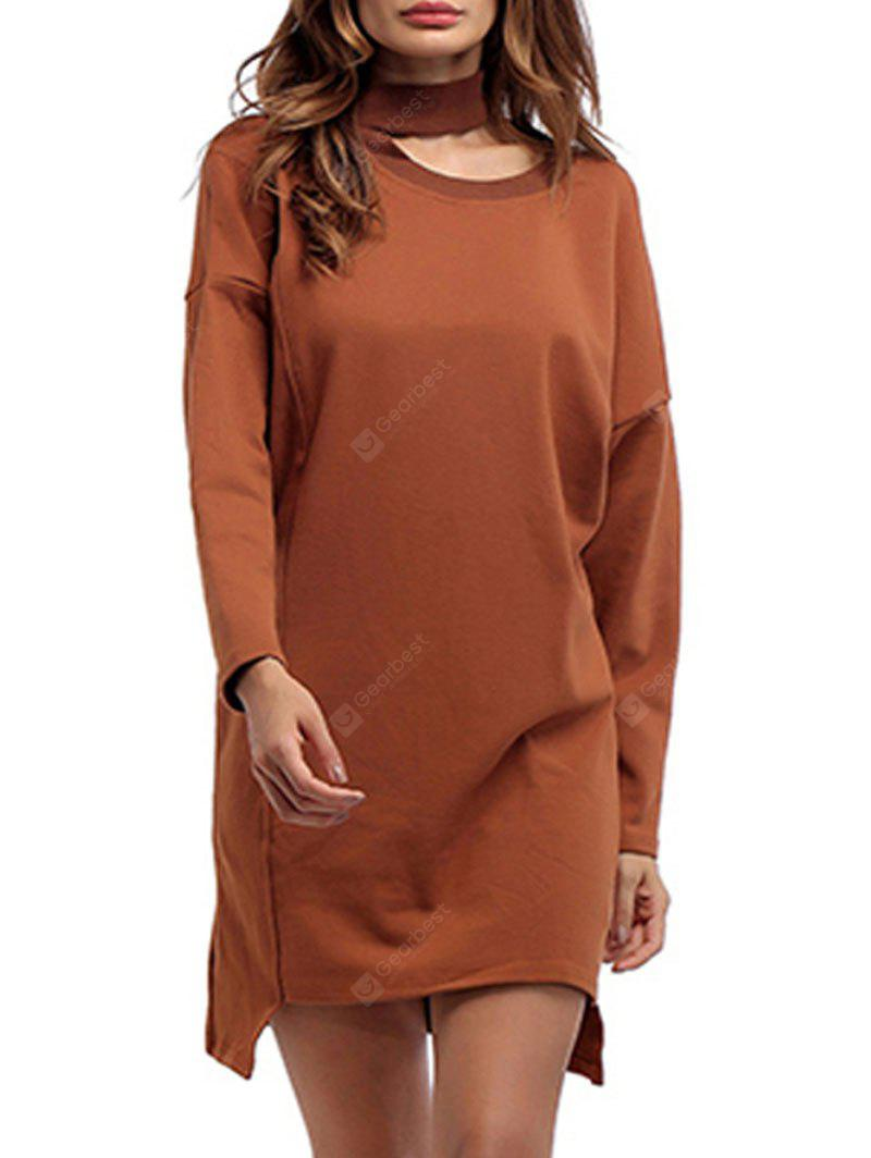 High Neck Cut High Low Mini Sweatshirt Vestido