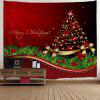 Wall Hanging Art Decor Christmas Tree Bowknot Print Tapestry - RED