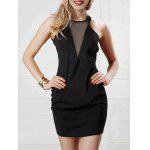 Open Back Mesh Panel Bodycon Dress - PRETO