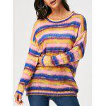Drop Shoulder Color Block Stripe Sweater - COR MISTURA