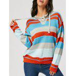 Drop Shoulder Lace Up Front Striped Sweater - COR MISTURA