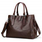 Buckle Strap Metal Ring Faux Leather Briefcase - BROWN