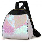 Sequins Faux Leather Backpack - WHITE