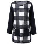 Tee Long Sleeve Raglan de tamanho Plaid Plus - VERIFICADO