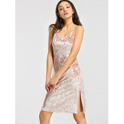 Buy PINK S Crushed Velvet Criss Cross A Line Dress for $24.18 in GearBest store