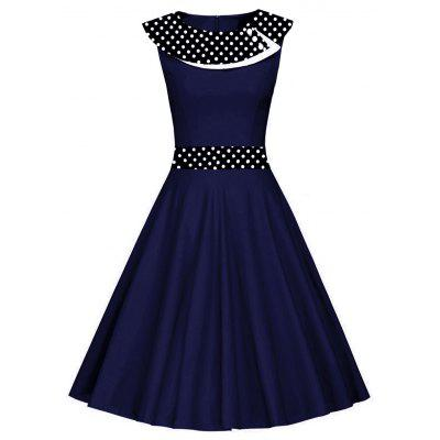 Vintage Polka Dot Party Fit e Flare Dress