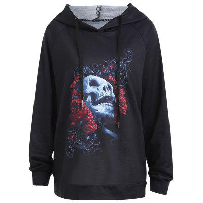 Buy BLACK 2XL Plus Size Rose Skull Halloween Hoodie for $21.23 in GearBest store